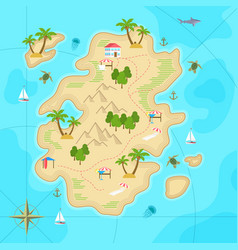 Cartoon tropical island in ocean top view exotic vector