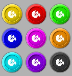CD icon sign symbol on nine round colourful vector