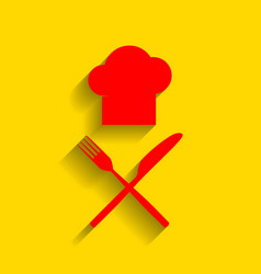 chef with knife and fork sign red icon vector image