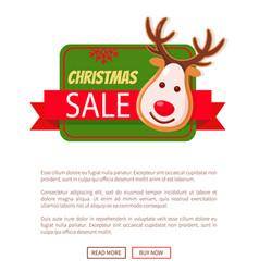 Christmas sale greeting card gingerbread deer head vector