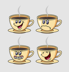 Coffee cartoon character expression vector