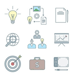 Colored outline creative business process icons vector