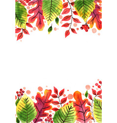 Colorful autumn leaf watercolor border vector