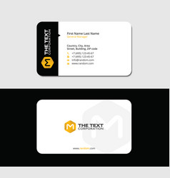 colorful business card yellow letter m vector image