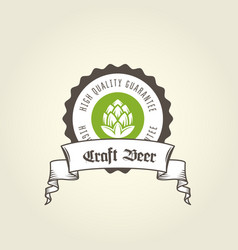 craft beer vintage emblem - private brewery label vector image
