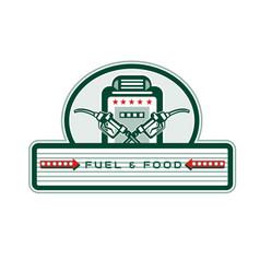 Crossed fuel nozzle gas pump retro vector