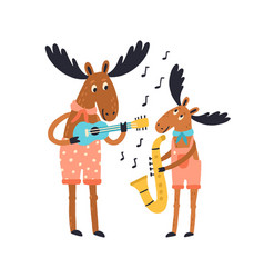 Cute amusing elk family playing musical vector