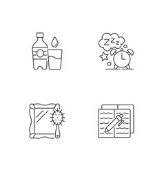 Daily schedule and routine linear icons set vector