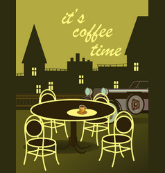 drawing of coffee with a car with a cityscape vector image vector image
