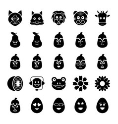 Emoticons icons set vector