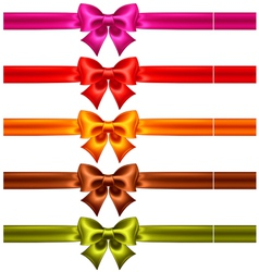 Festive bows in warm colors with ribbons vector image