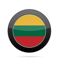 Flag of lithuania shiny black round button vector