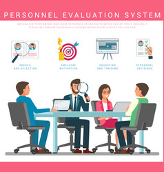 Flat banner personnel evaluation system vector