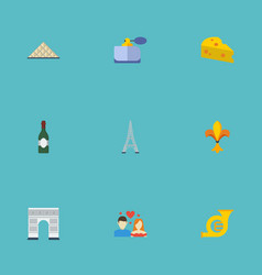 Flat icons archway tower trombone and other vector