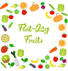 flat-lay fruits pattern or background eps10 vector image
