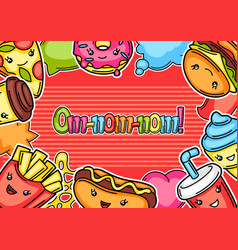 Frame with cute kawaii fast food meal vector