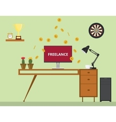Freelance job with monitor text gold coin money vector