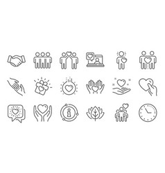 friendship and love line icons interaction vector image