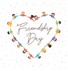 Friendship day card of kid friends in love shape vector