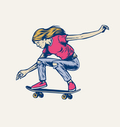 Girl jumping on her skateboard in hand drawn style vector