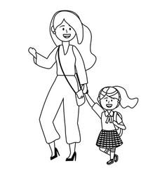 Girl kid school and mother design vector