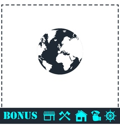Globe Earth icon flat vector