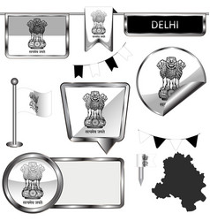Glossy icons with flag of delhi india vector