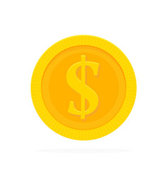 gold coin in flat style vector image