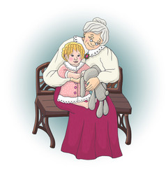 grandparents with granddaughter - vector image