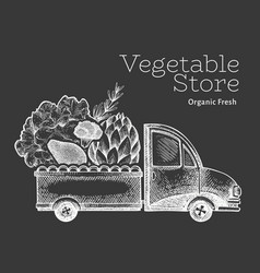 Green vegetables shop delivery logo template hand vector