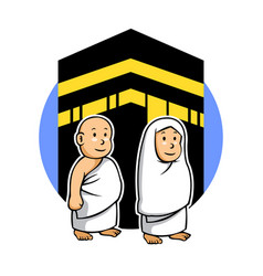 Hajj kids and kabaa vector