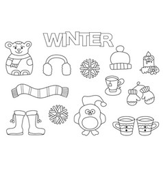 hand drawn winter set coloring book template vector image