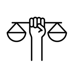 Hand holding scale justice law human rights day vector