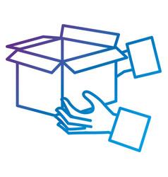 Hands with carton box vector