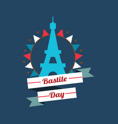 Happy bastille day greetings card design 14th vector