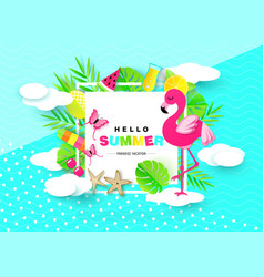 Hello summer banner with sweet vacation elements vector