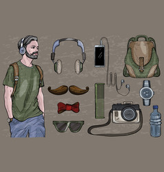 hipster man in headphones vector image