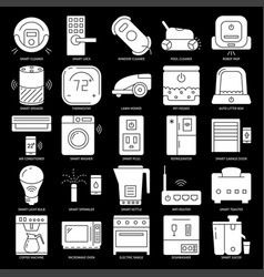 home automation appliances silhouette icon set in vector image