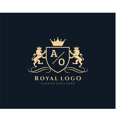 Initial ao letter lion royal luxury heraldiccrest vector