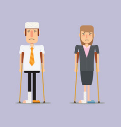 Injured business man and woman vector