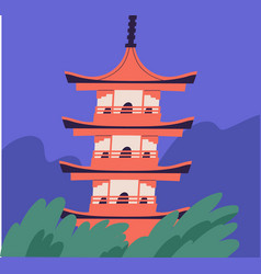 Japanese pagoda building asian traditional vector