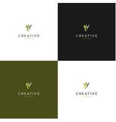 letter y leaf creative logo design vector image