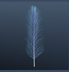 light blue feather icon realistic style vector image