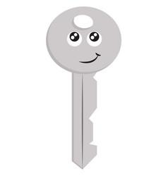 light grey smiling key on white background vector image