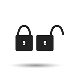 lock icon flat lock sign symbol with shadow on vector image