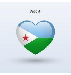 Love Djibouti symbol Heart flag icon vector