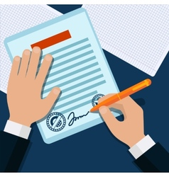 Man signs document stamped handle vector image