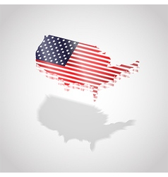 map and flag usa isolated vector image