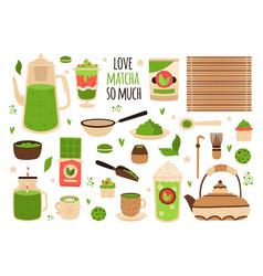 matcha tea matcha powder tea pot sweets and vector image