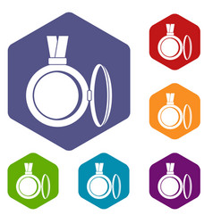 Medallion icons set hexagon vector